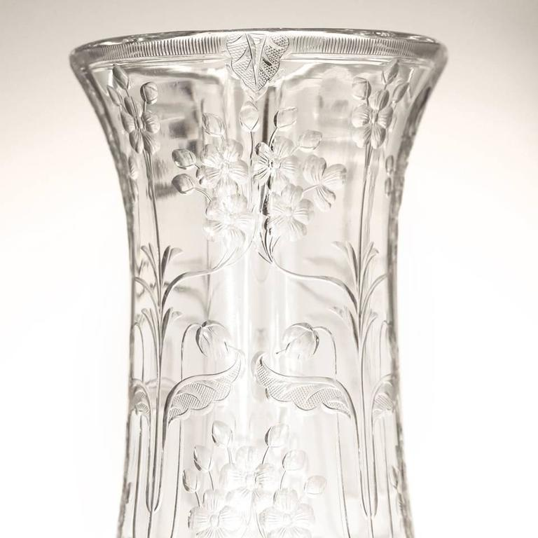 Art Nouveau Rock Crystal Vase by Webb In Excellent Condition For Sale In Litchfield, CT