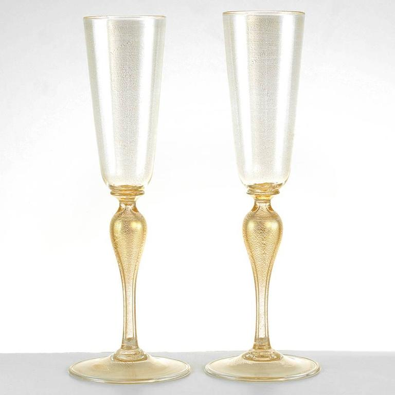 6 Venetian Hand Blown Champagne Flutes By Martinuzzi At 1stdibs
