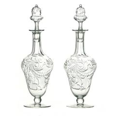 Pair of Rock Crystal Scent Bottles by Webb