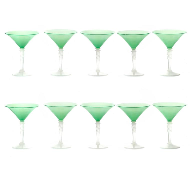 steuben art deco jade green and alabaster martini glasses 3