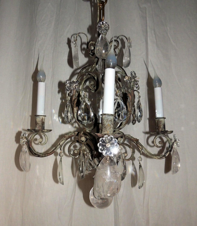 Fantastic French Silver Gilt Four Light Rock Crystal Chandelier Bagues Fixtur