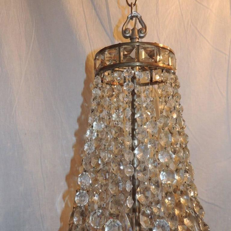 Wonderful French Silvered Bronze Graduated Crystal Tier Waterfall Chandelier In Good Condition For Sale In Roslyn, NY