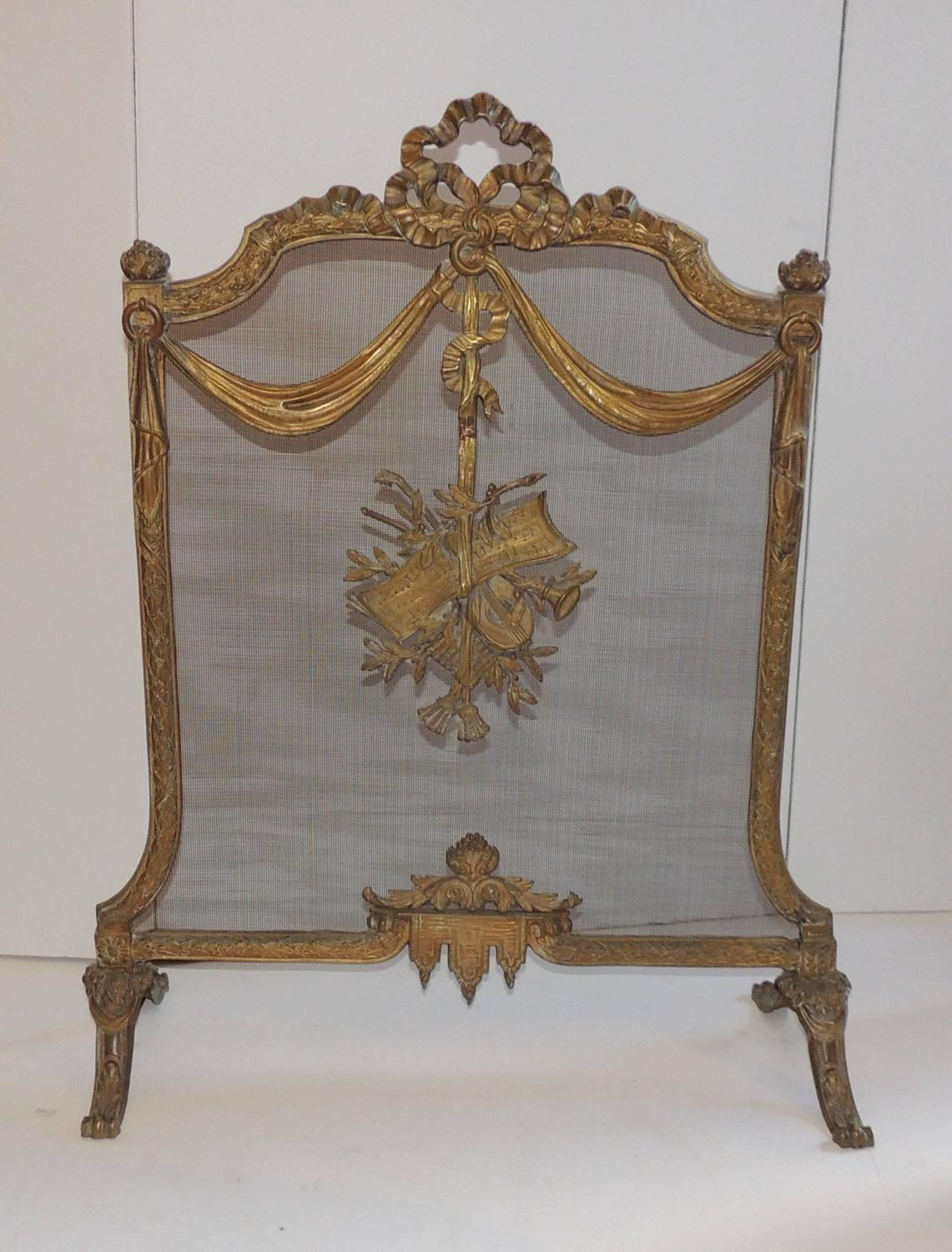 Wonderful French Bronze Bow Ribbons Floral Musical Fireplace Screen Fire Screen For Sale At 1stdibs