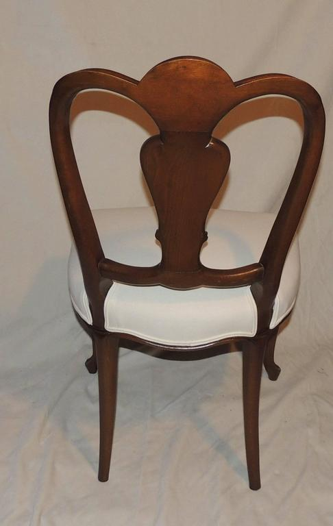 Wood Wonderful Shield Back Set of Six French Leg Carved Back Side Upholstered Chairs For Sale