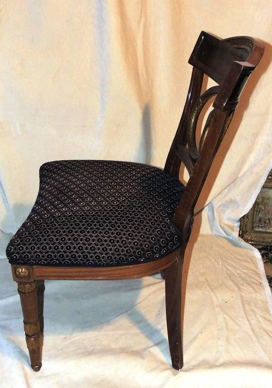 French Wonderful Set of Four Regency Upholstered Neoclassical Empire Gilt Side Chairs For Sale
