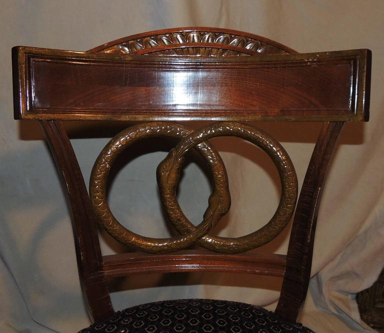Upholstery Wonderful Set of Four Regency Upholstered Neoclassical Empire Gilt Side Chairs For Sale