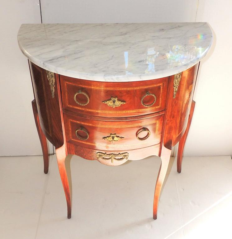 Marble Coffee Table With Drawers: Wonderful Pair French Two-Drawer Marble Marquetry Inlaid