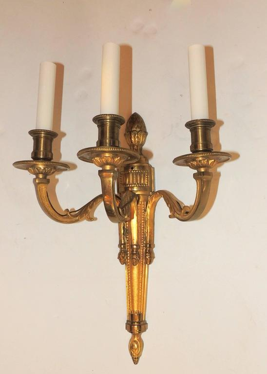 Gilt Wonderful Pair Neoclassical Urn Three-Arm Regency Caldwell Empire Sconces For Sale