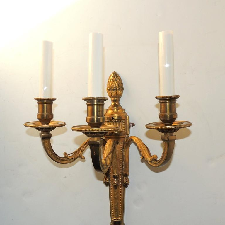 Mid-20th Century Wonderful Pair Neoclassical Urn Three-Arm Regency Caldwell Empire Sconces For Sale