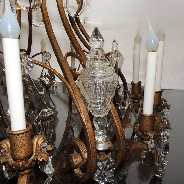 Majestic Gilt French Twelve-Light Rock Crystal Large Chandelier Bagues Fixture For Sale 3