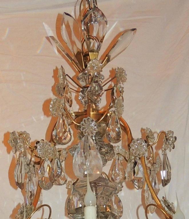 Regency Large French Dore Bronze Rock Crystal Nine-Light Baguès Gilt Chandelier For Sale