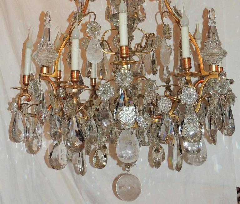 Large French Dore Bronze Rock Crystal Nine-Light Baguès Gilt Chandelier For Sale 4