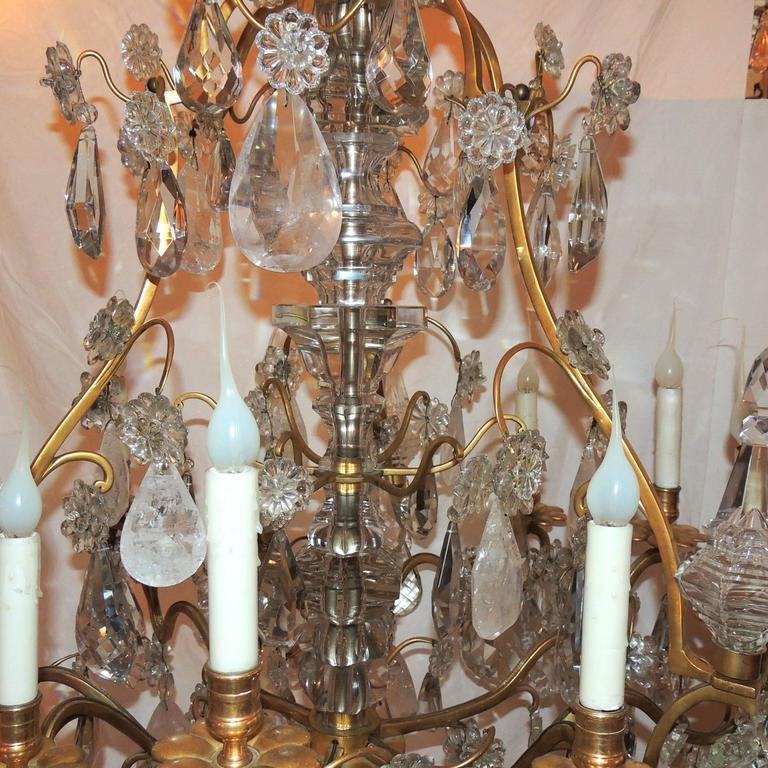 Large French Dore Bronze Rock Crystal Nine-Light Baguès Gilt Chandelier In Good Condition For Sale In Roslyn, NY