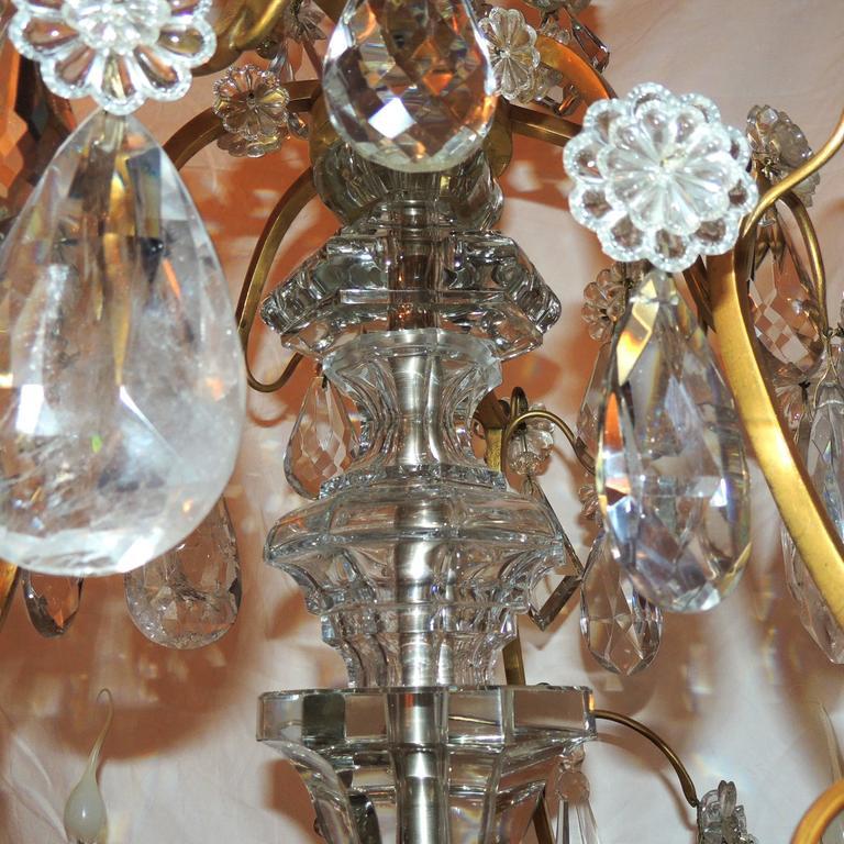Large French Dore Bronze Rock Crystal Nine-Light Baguès Gilt Chandelier For Sale 2