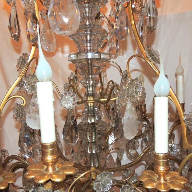 Large French Dore Bronze Rock Crystal Nine-Light Baguès Gilt Chandelier For Sale 3