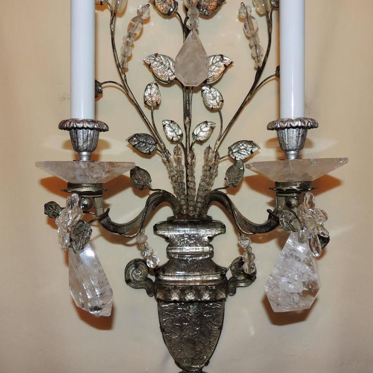 Wonderful Pair French Rock Crystal Silvered Bronze Two-Arm Jansen Sconces 4