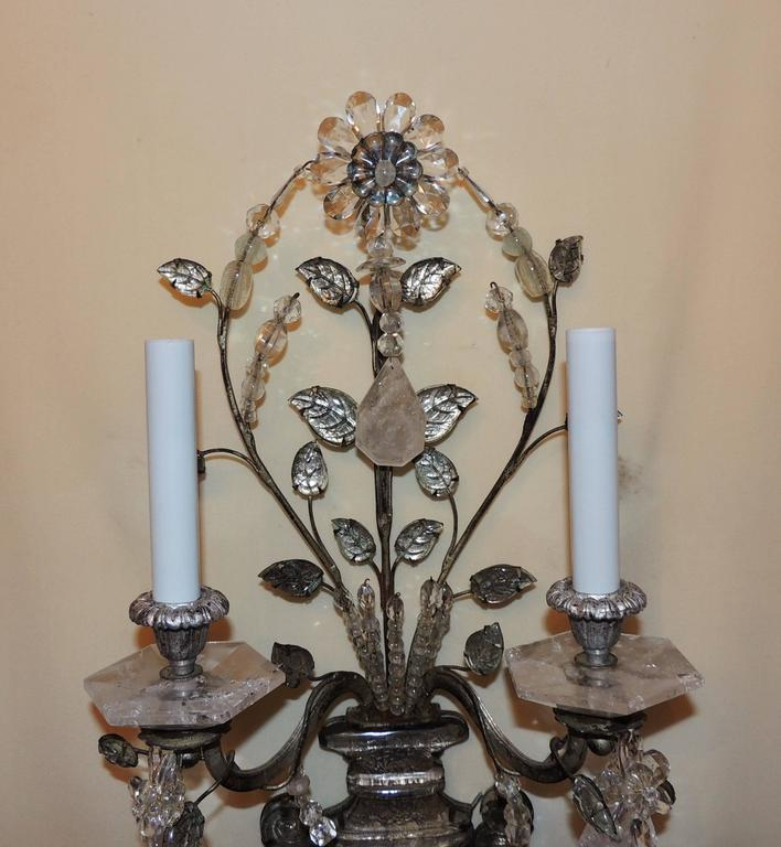 Wonderful Pair French Rock Crystal Silvered Bronze Two-Arm Jansen Sconces 3