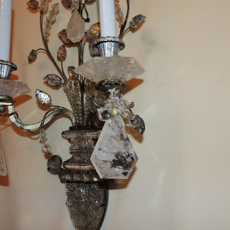 Wonderful Pair French Rock Crystal Silvered Bronze Two-Arm Jansen Sconces 6