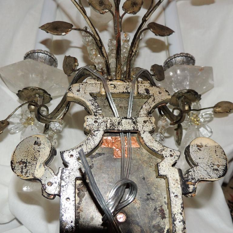 Wonderful Pair French Rock Crystal Silvered Bronze Two-Arm Jansen Sconces 10