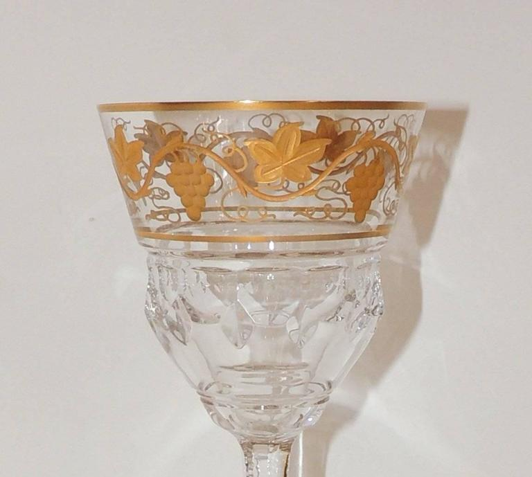 Gilt Wonderful Val St Lambert Pampre D'or 23 Piece Water Wine Crystal Stemware Set