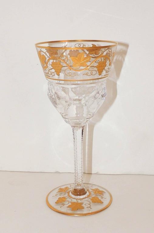 Wonderful Val St Lambert Pampre D'or 23 Piece Water Wine Crystal Stemware Set 1