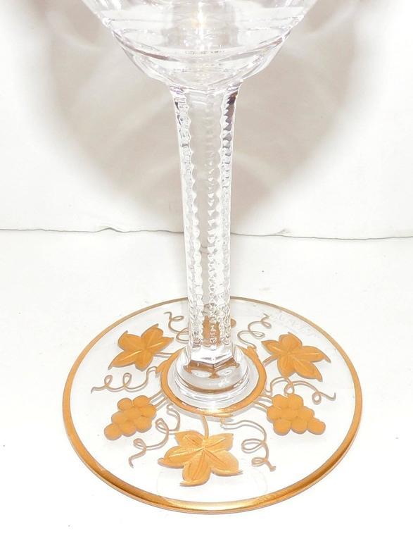 Wonderful Val St Lambert Pampre D'or 23 Piece Water Wine Crystal Stemware Set 3