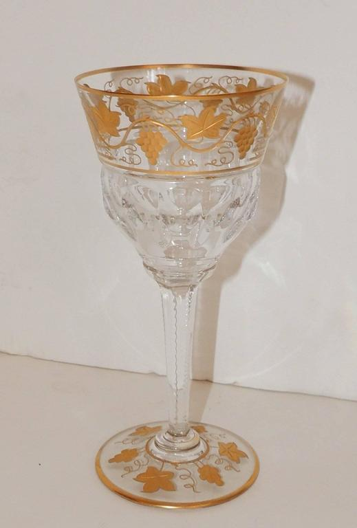 Wonderful Val St Lambert Pampre D'or 23 Piece Water Wine Crystal Stemware Set In Good Condition In Roslyn, NY