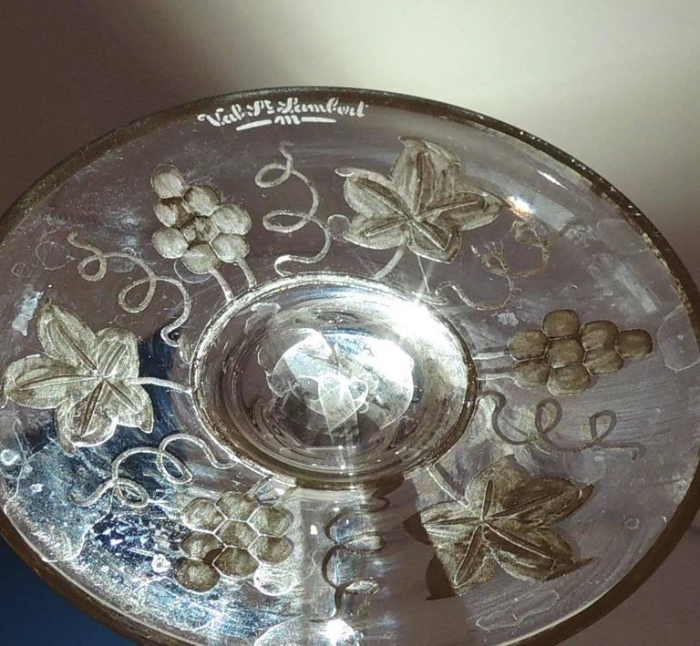 Wonderful Val St Lambert Pampre D'or 23 Piece Water Wine Crystal Stemware Set 4