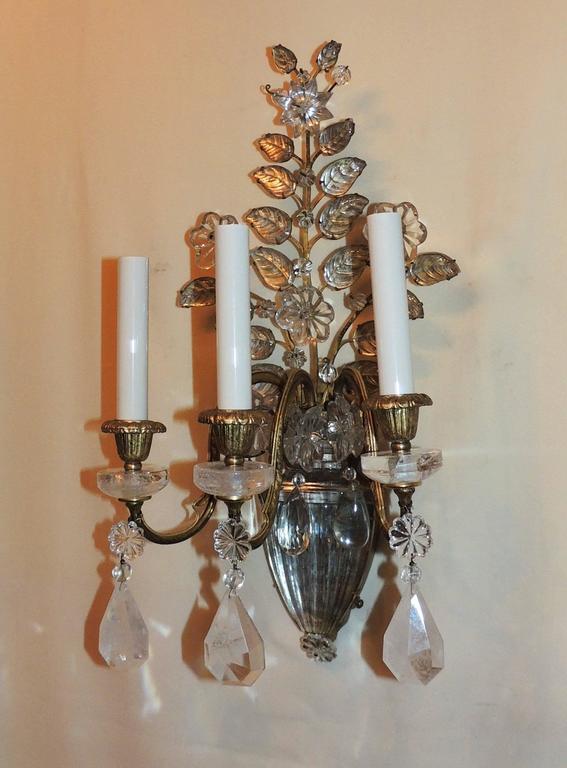 Mid-Century Modern Wonderful Pair Vintage Baguès Rock Crystal Gilt Bronze Jansen Urn Flower Sconces For Sale