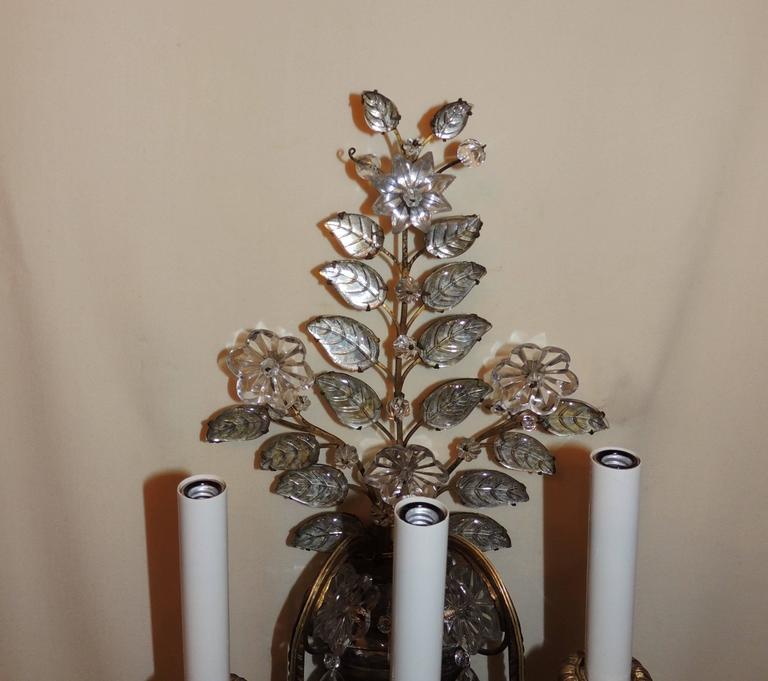 French Wonderful Pair Vintage Baguès Rock Crystal Gilt Bronze Jansen Urn Flower Sconces For Sale