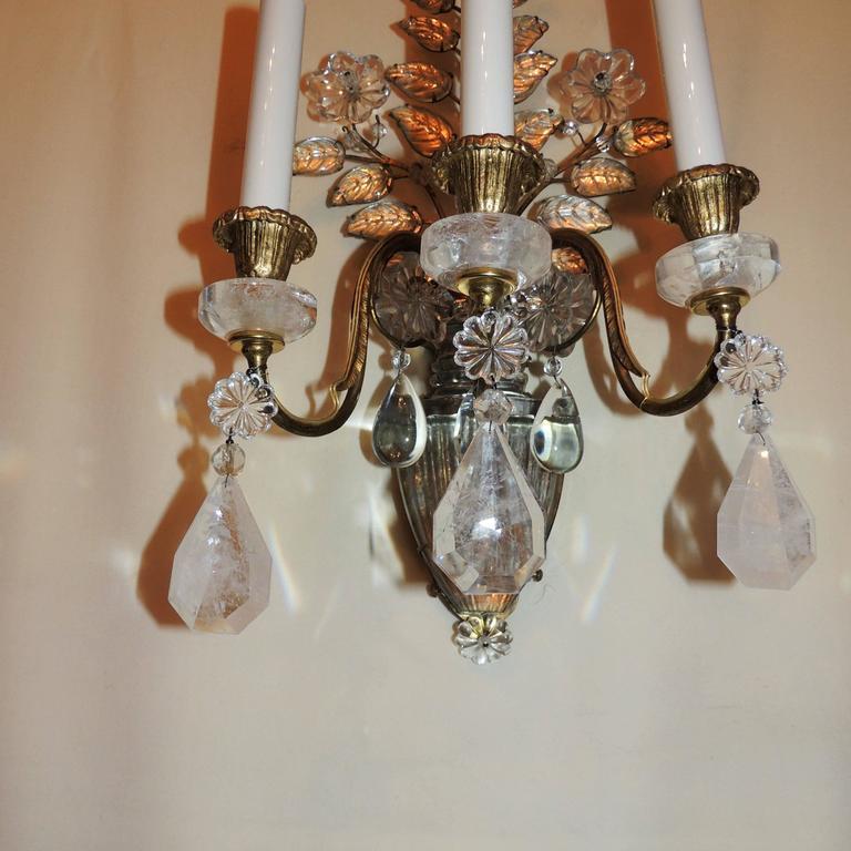 Wonderful Pair Vintage Baguès Rock Crystal Gilt Bronze Jansen Urn Flower Sconces In Good Condition For Sale In Roslyn, NY