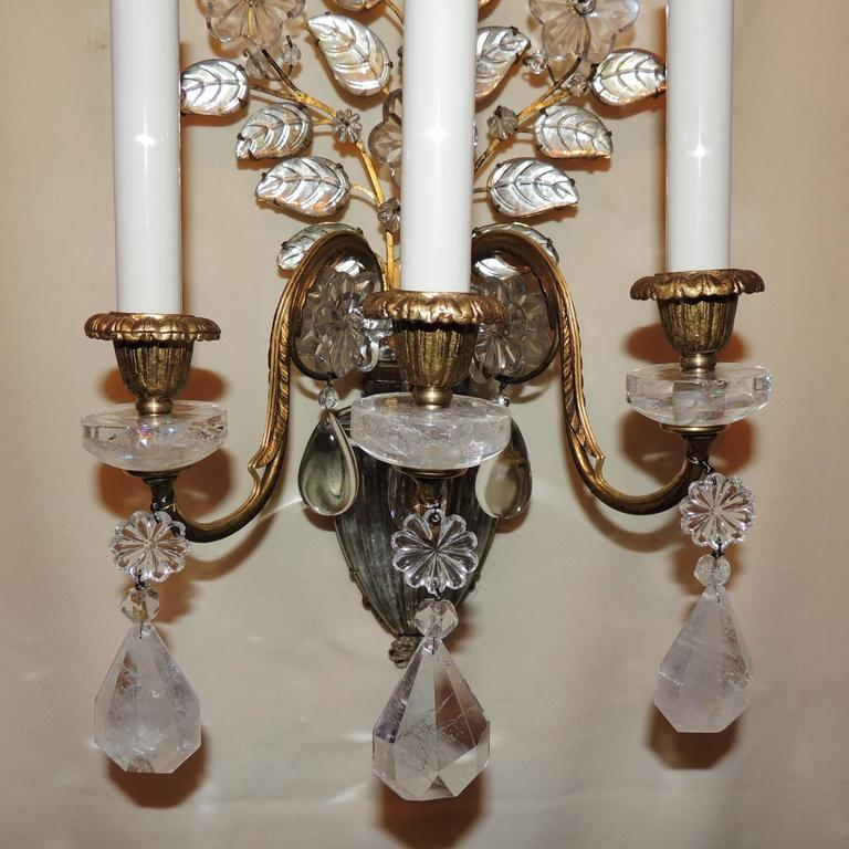 Wonderful Pair Vintage Baguès Rock Crystal Gilt Bronze Jansen Urn Flower Sconces For Sale 1