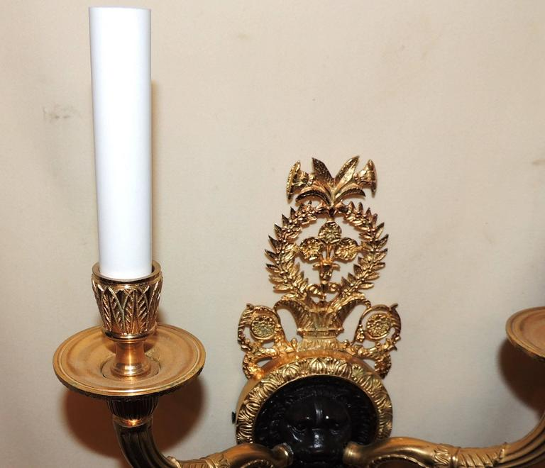 Wonderful French Empire Gilt Patina Bronze Lions Head Neoclassical Sconces, Pair In Good Condition For Sale In Roslyn, NY