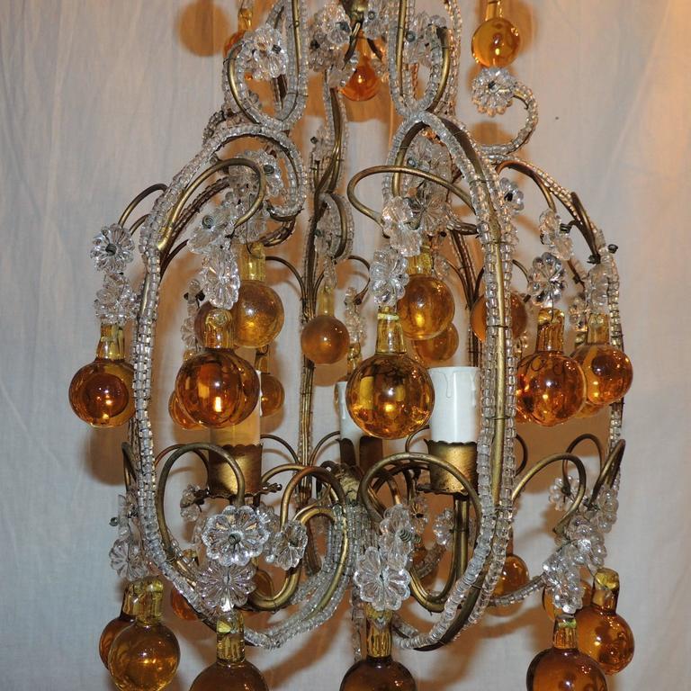 Whimsical Beaded Italian Three-Light Amber Crystal