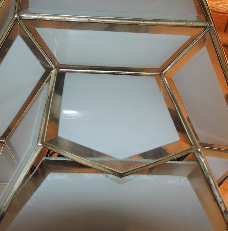 Fine Art Deco Hexagon Frosted Glass Nickel Chandelier Flush Mount Fixture Modern In Good Condition For Sale In Roslyn, NY