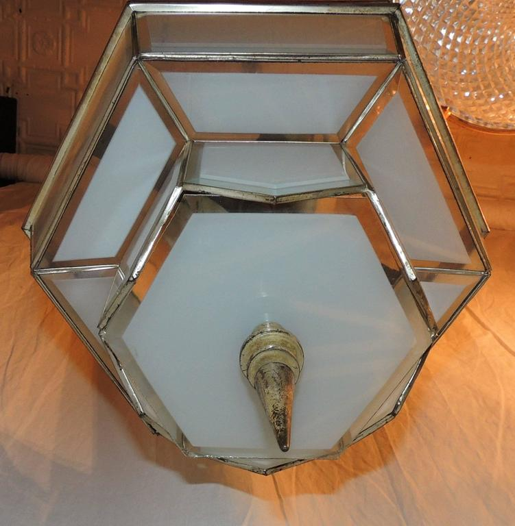 Early 20th Century Fine Art Deco Hexagon Frosted Glass Nickel Chandelier Flush Mount Fixture Modern For Sale