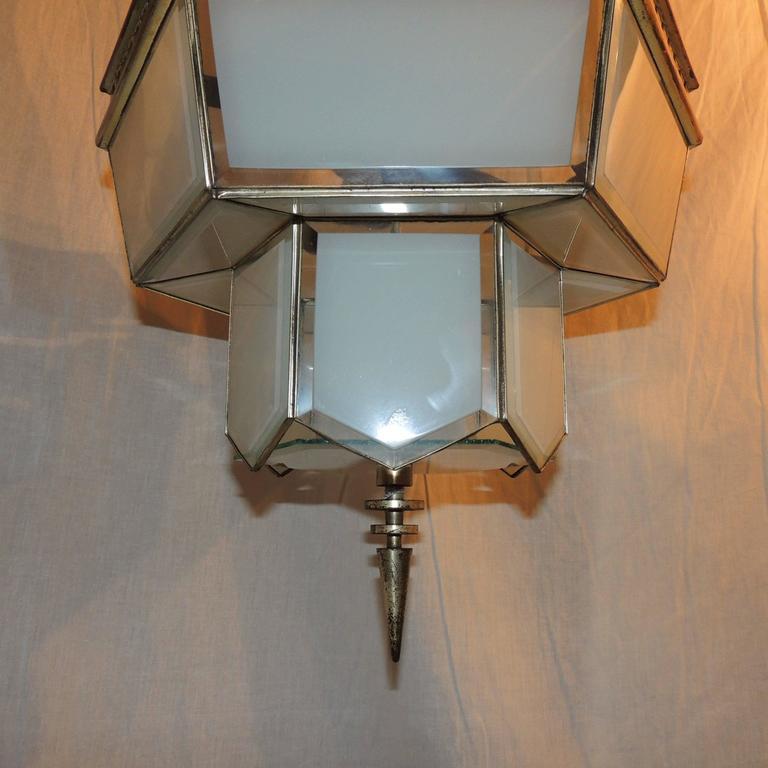 Fine Art Deco Hexagon Frosted Glass Nickel Chandelier Flush Mount Fixture Modern For Sale 1
