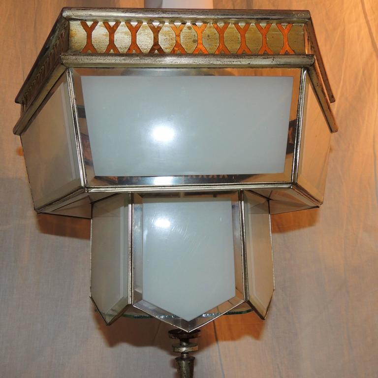 Beveled Fine Art Deco Hexagon Frosted Glass Nickel Chandelier Flush Mount Fixture Modern For Sale
