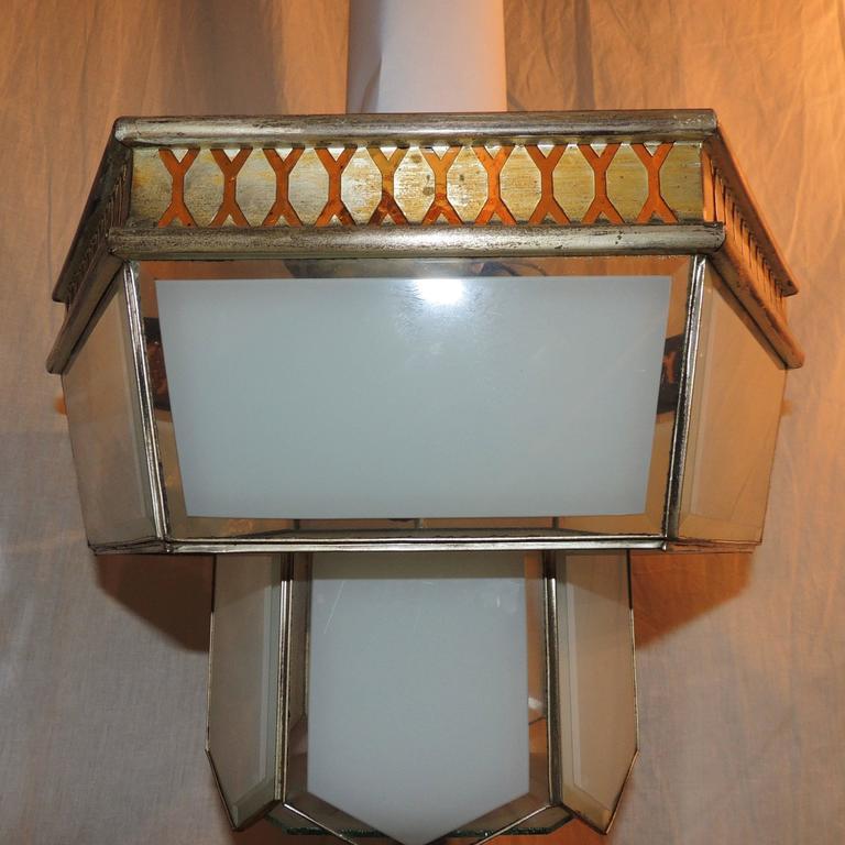 Italian Fine Art Deco Hexagon Frosted Glass Nickel Chandelier Flush Mount Fixture Modern For Sale
