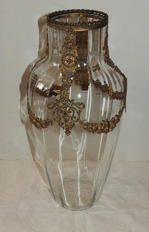 Beautiful french gilt bronze ormolu mounted large crystal
