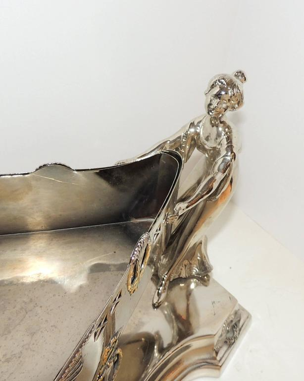 Wonderful Art Deco Silver Plated WMF Lady Figural Centerpiece Planter Insert In Good Condition For Sale In Roslyn, NY