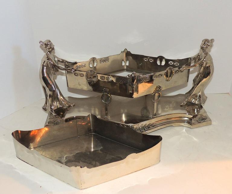 French Wonderful Art Deco Silver Plated WMF Lady Figural Centerpiece Planter Insert For Sale