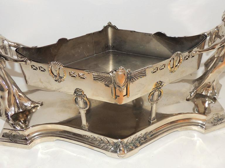 Wonderful Art Deco Silver Plated WMF Lady Figural Centerpiece Planter Insert For Sale 2
