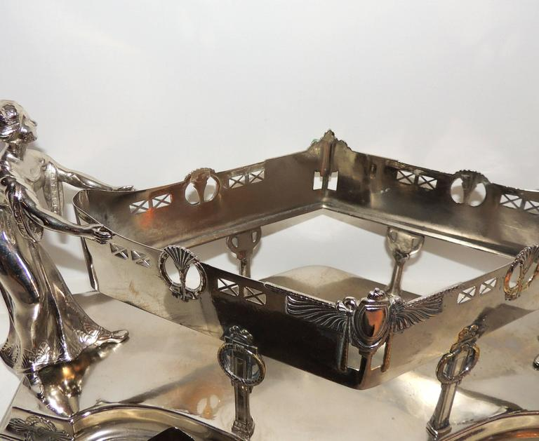 Wonderful Art Deco Silver Plated WMF Lady Figural Centerpiece Planter Insert For Sale 4