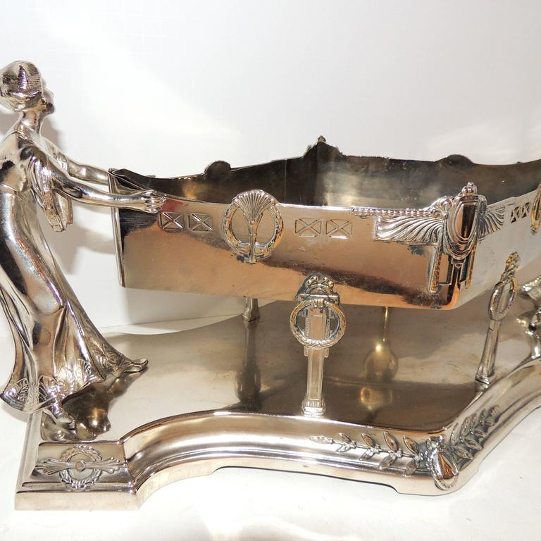 20th Century Wonderful Art Deco Silver Plated WMF Lady Figural Centerpiece Planter Insert For Sale