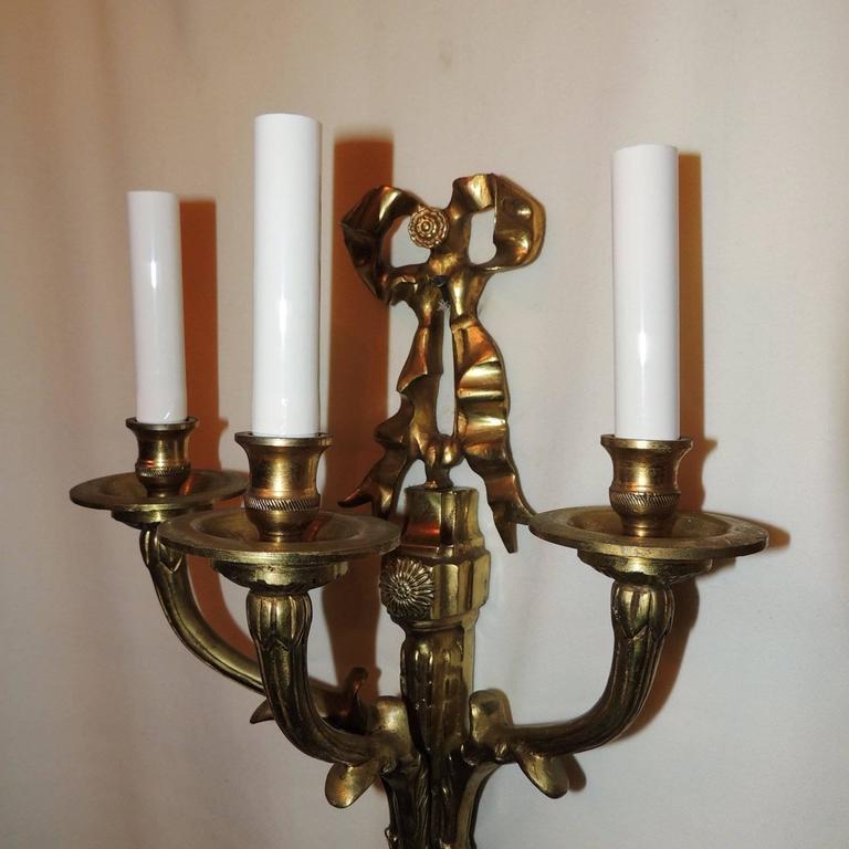 Elegant Set 6 French Gilt Bronze 3 Pair Bow Top Rosette 3 Arm Filigree Sconces For Sale 4
