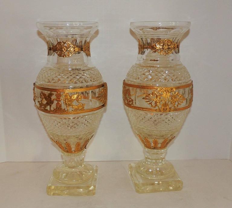 Beautiful Large Pair Baccarat Cut Crystal Ormolu Mounted Regency