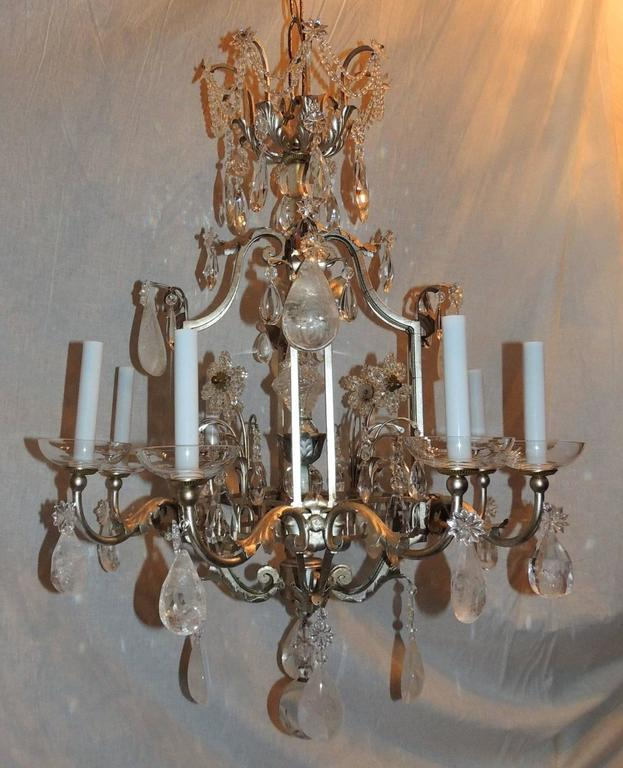 Transitional Pagoda Bagues Jansen Eight-Light Gilt Rock Crystal Chandelier 3