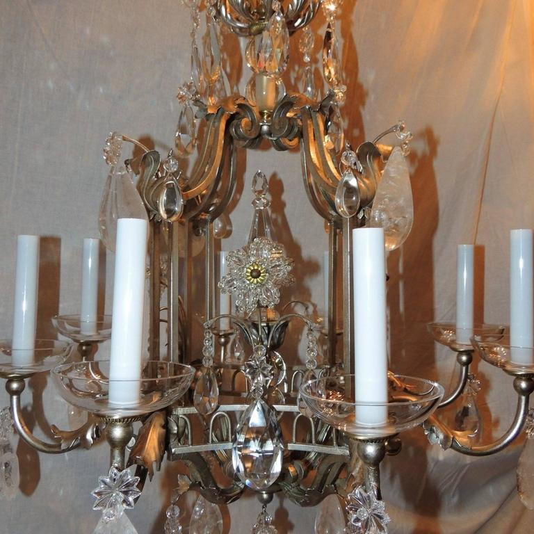 Transitional Pagoda Bagues Jansen Eight-Light Gilt Rock Crystal Chandelier In Good Condition For Sale In Roslyn, NY