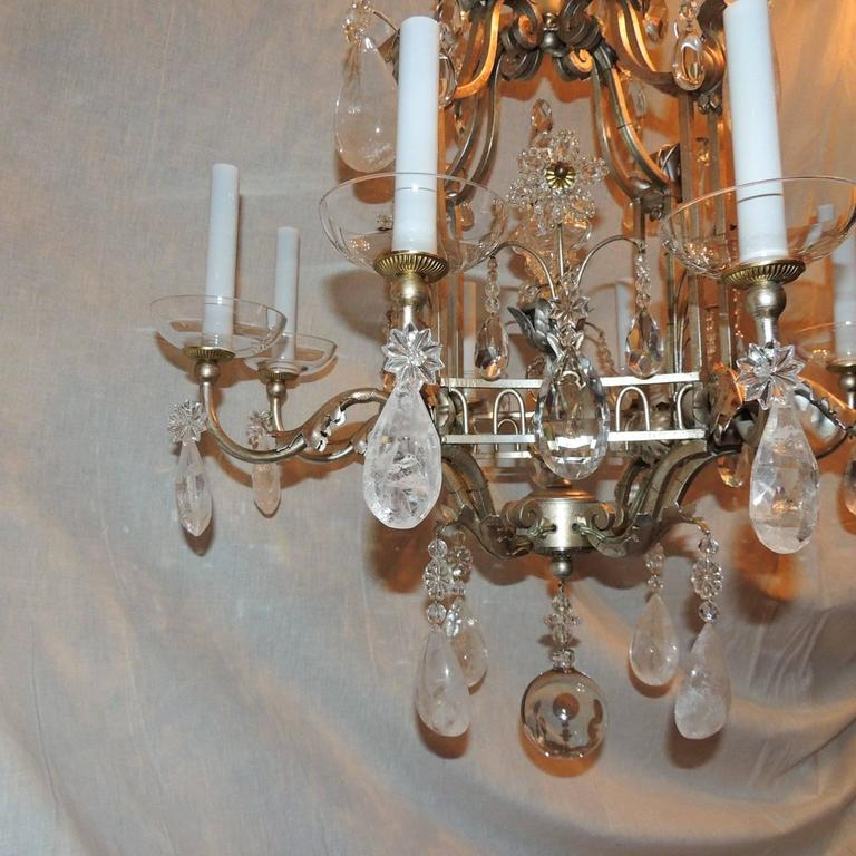 Transitional Pagoda Bagues Jansen Eight-Light Gilt Rock Crystal Chandelier 9